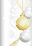 Silver and gold christmas balls. On silver background Royalty Free Stock Photography