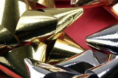 Silver and Gold Christmas Bows Stock Image