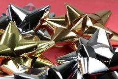 Silver and Gold Christmas Bows Royalty Free Stock Photo