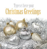 Silver gold Christmas decoration stock images