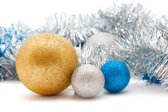 Silver and gold Christmas decorations Royalty Free Stock Photography