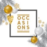 Silver and gold Christmas ornaments Royalty Free Stock Photos