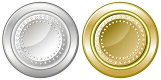Silver and gold coins Royalty Free Stock Images
