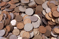 Silver and gold coins Stock Images