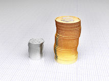 Silver and gold coins. Rouleau of silver and gold coins Royalty Free Stock Image