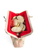 Silver and gold coins are in hot red purse Stock Photography