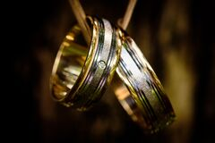 Silver and Gold Couple Ring Stock Photo
