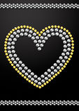 Silver and gold crystal sequins heart design Royalty Free Stock Photos