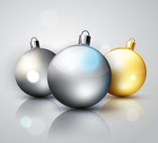 Silver and gold decoration Christmas balls Royalty Free Stock Image