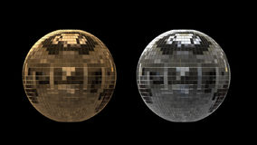 Silver and gold disco ball with alpha channel stock video