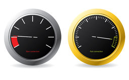 Silver and gold framed speedometers Royalty Free Stock Image