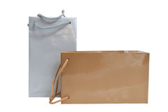 Silver and gold gift bags  isolated Stock Image