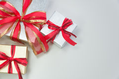Silver and gold gift box top view crop Royalty Free Stock Photo