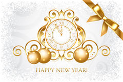 Silver & gold Happy New Year card. Vector silver & gold Happy New Year card vector illustration