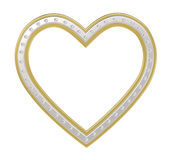 Silver-gold heart with diamonds picture frame vector illustration