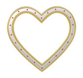 Silver gold heart picture frame isolated on white. Royalty Free Stock Images