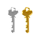 Silver and Gold Keys Royalty Free Stock Images