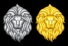 Silver and gold lion heads Royalty Free Stock Image