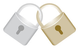 Silver and gold lock Stock Photography