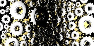 Silver and gold mechanical 3D manufacturing, metal gears cog cogs black background Stock Image