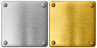 Silver and gold metal plates with clipping path Royalty Free Stock Photo