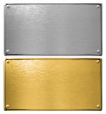 Silver and gold metal plates isolated 3d illustration Royalty Free Stock Photography