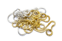 Silver and gold necklaces Royalty Free Stock Photos