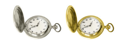 Silver and gold old pocket watches Stock Images