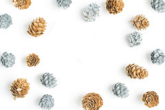 Silver and Gold Pinecone frame stock photo