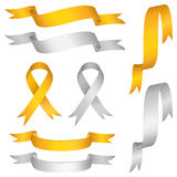 Silver gold ribbon vector set Stock Photos