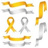 Silver gold ribbon vector set. Illustration Stock Photos