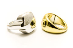 Silver and gold rings Royalty Free Stock Photo