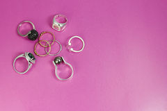 Silver and gold rings stock photos