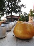 Silver&Gold. Row of Silver and gold alms bowls Royalty Free Stock Photography
