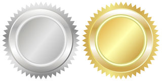 Silver and gold seal Royalty Free Stock Image