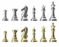 Silver and gold set of icons for chess, on white background, intelligent game, 3d rendering Stock Images