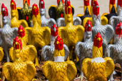 Silver and gold simulated chicken Stock Images