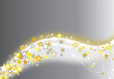 Silver and gold sparkling star background Stock Photo