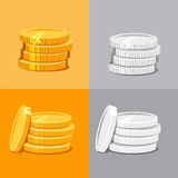 Silver and gold stacked coins Stock Images