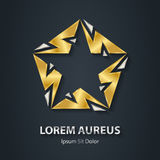 Silver and Gold star logo made of lightnings. Award 3d icon. Met Royalty Free Stock Images