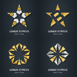 Silver and Gold star logo set. Award 3d icon. Metallic logotype. Template. Volume Vector illustration Stock Images