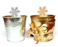 Silver and gold stars. Two stars and two little pails. Silver & gold decoration Royalty Free Stock Photo