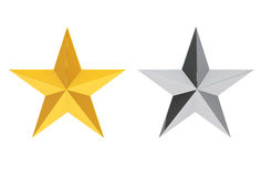 Silver and Gold Stars. 3d Rendering Stock Image