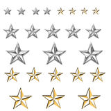 Silver and gold stars various. Set of silver and gold stars, 4 small , 5 medium and 3 large of each finish. can use to denote service as in ranking of service royalty free illustration
