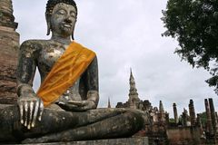Silver and gold Sukhothai buddha statue Stock Image