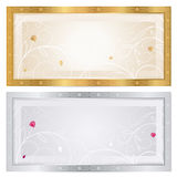Silver / Gold voucher template with floral pattern Royalty Free Stock Photos