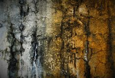 Silver & Gold WALL. Water stain created the gold tone on wall.I just added some saturation and sharpened it up a bit Stock Photography