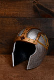 Silver and gold warrior helmet Stock Images