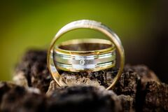 Silver and Gold Wedding Band Royalty Free Stock Photos