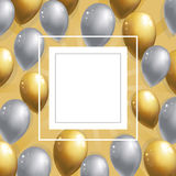 Silver and golden balloons background. Celebration party banner. Frame with balloons Place for your text. Vector illustration royalty free illustration